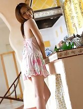 Young japanese wife Yura Aikawa showing her goodies at home
